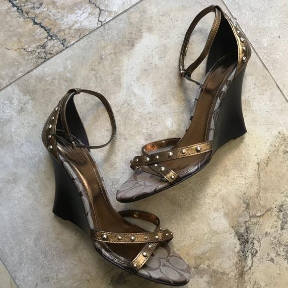 Coach Shoes - Coach jerilyn wedge sandal ankle strap logo